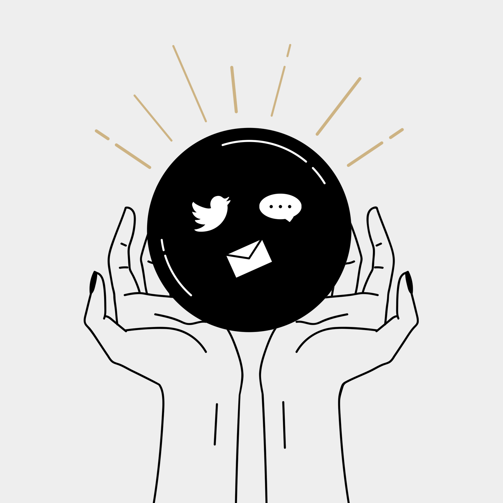 Illustration of hands holding a black orb containing icons for social media, messaging, and email