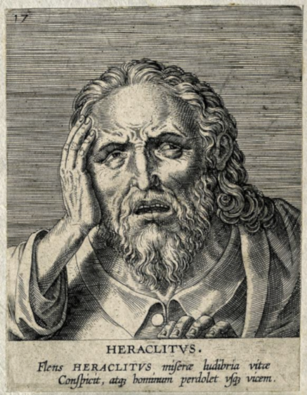 "The Latin reads: ""Weeping, Heraclitus gazes on the games of our miserable life and continuously grieves the human condition"""