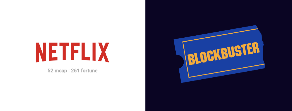 Netflix vs. Blockbuster. We think we know this story.