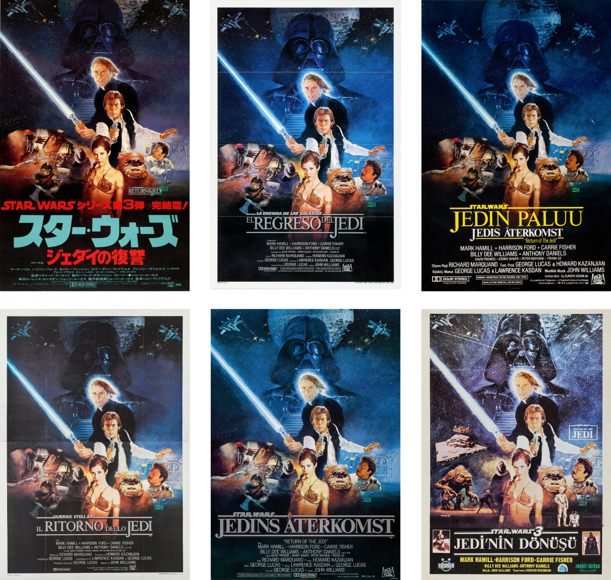 Star Wars Around The World Short Circuit Movie Posters From Poster Shop Clockwise Top Left Kazuhiko Sano Return Of Jedi Japan Spain Finland Turkey Sweden And Italy 1983 86