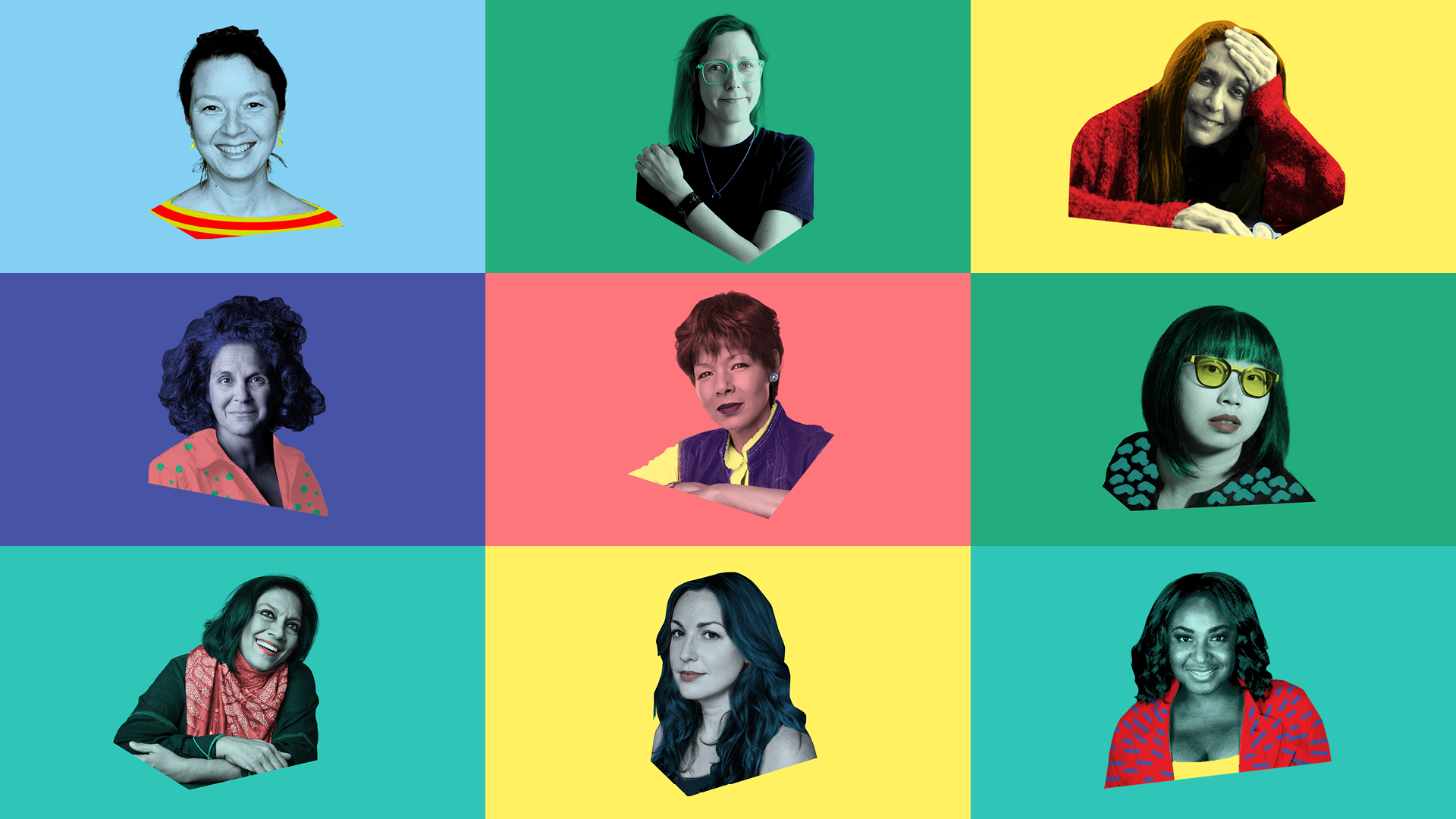 Pop art grid of women in film on coloured backgrounds.