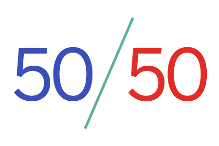 Numbers displaying 50/50 split