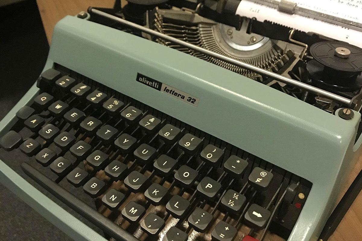 Nikki at typewriter