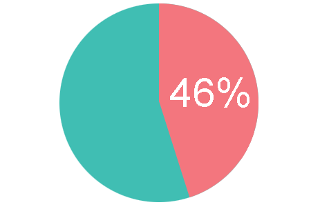 Pie chart depicting 46%