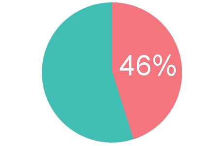 Pie chart depicting 46%