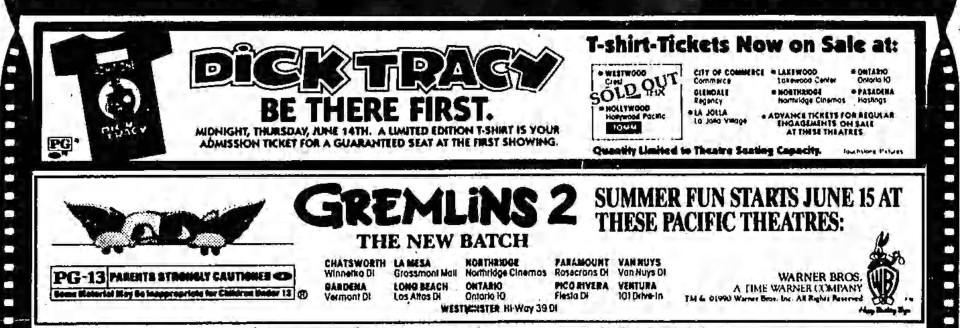 035-1990-Gremlins2-ad-Dick Tracy-LATimes-06-12-1990
