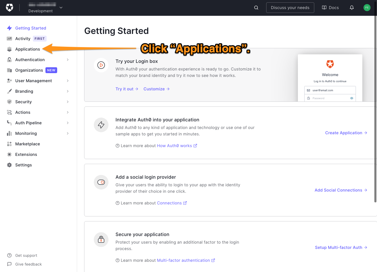 """The main page of the Auth0 dashboard. The reader is directed to click """"Applications""""."""