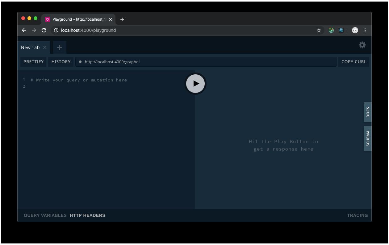 GraphQL Playground interface