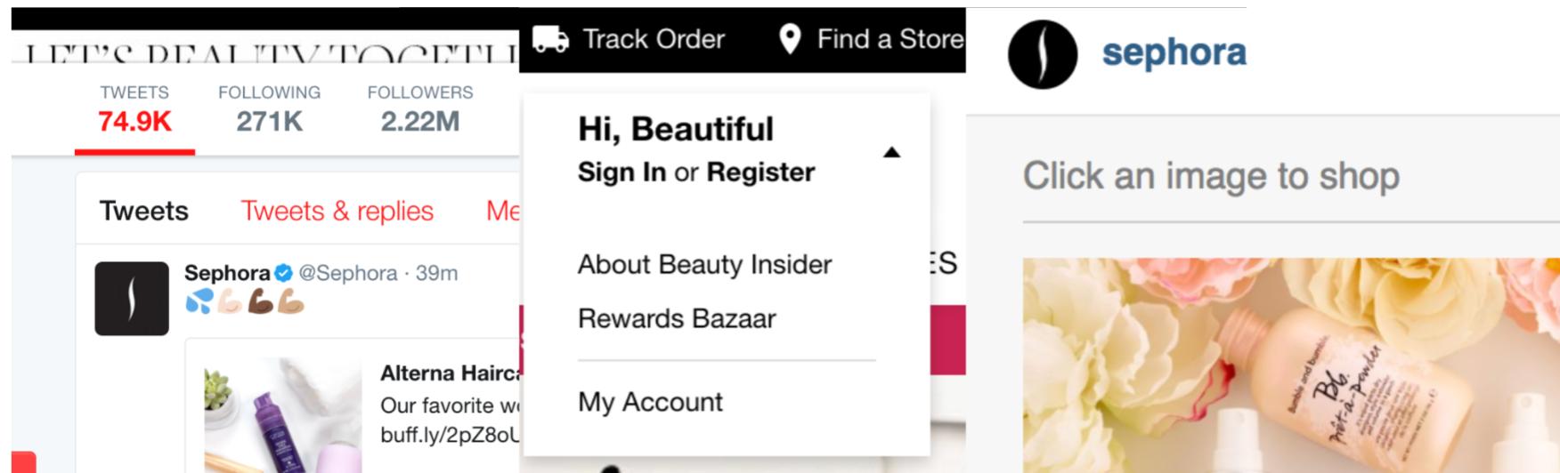 Sephora のソーシャルメディアのフォロー画面