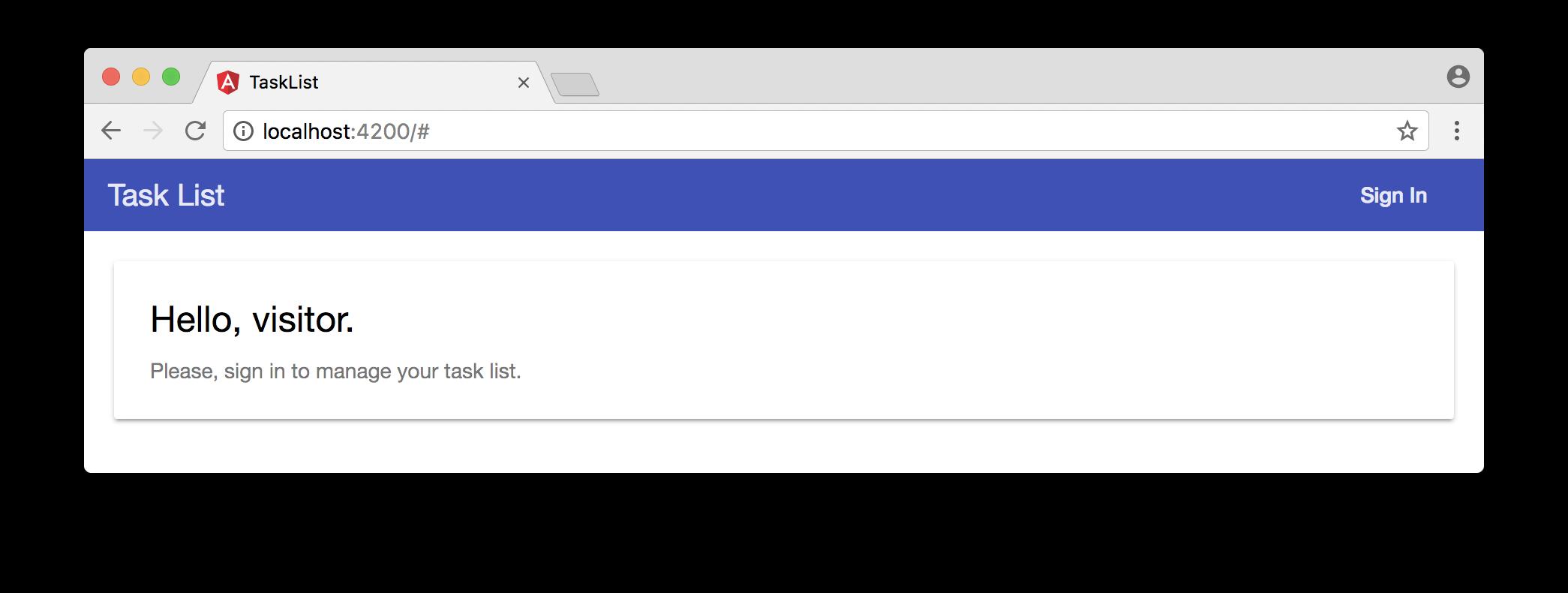 Welcome message on our Angular task list app