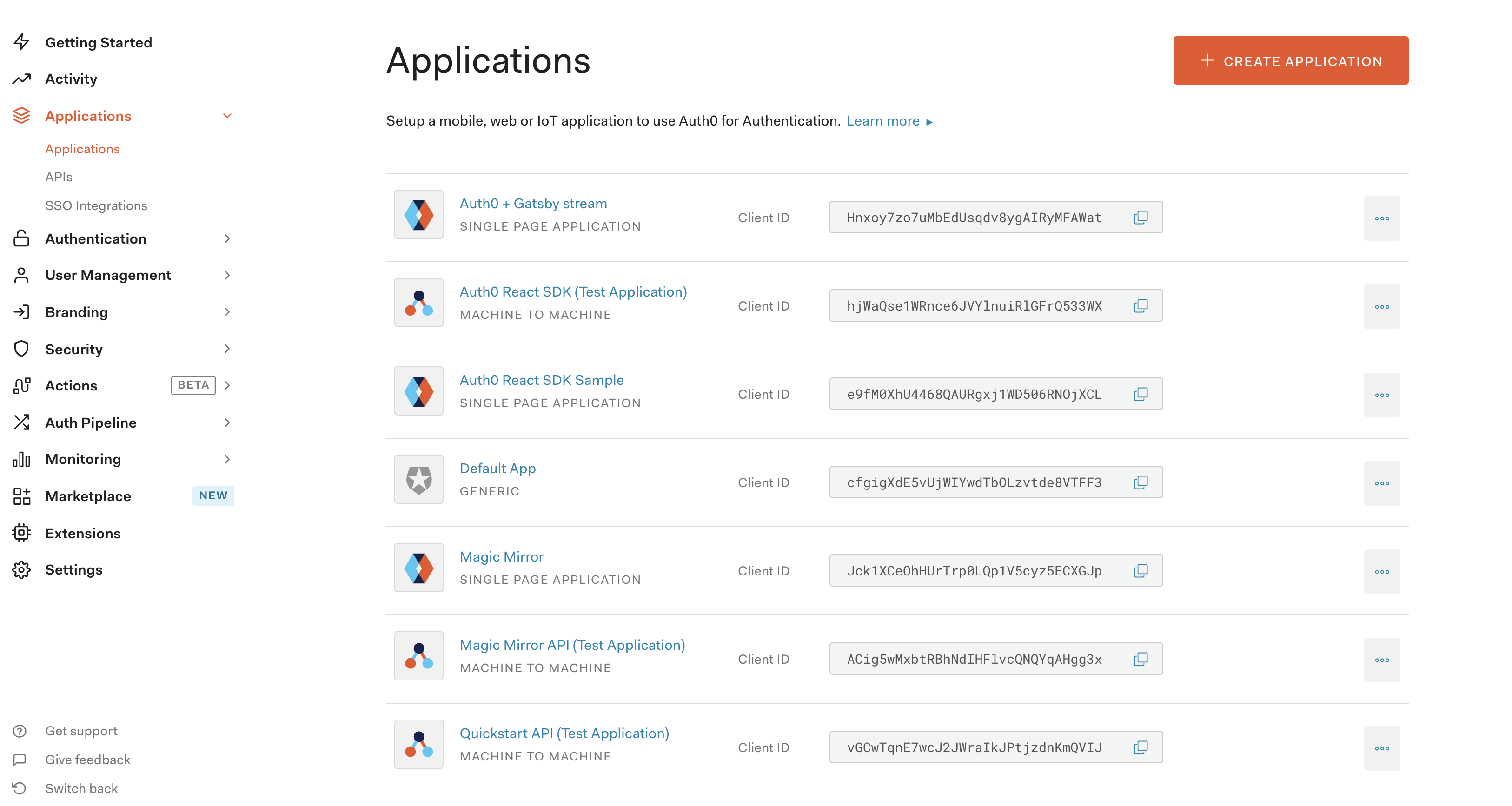 Screenshot of Auth0 applications dashboard
