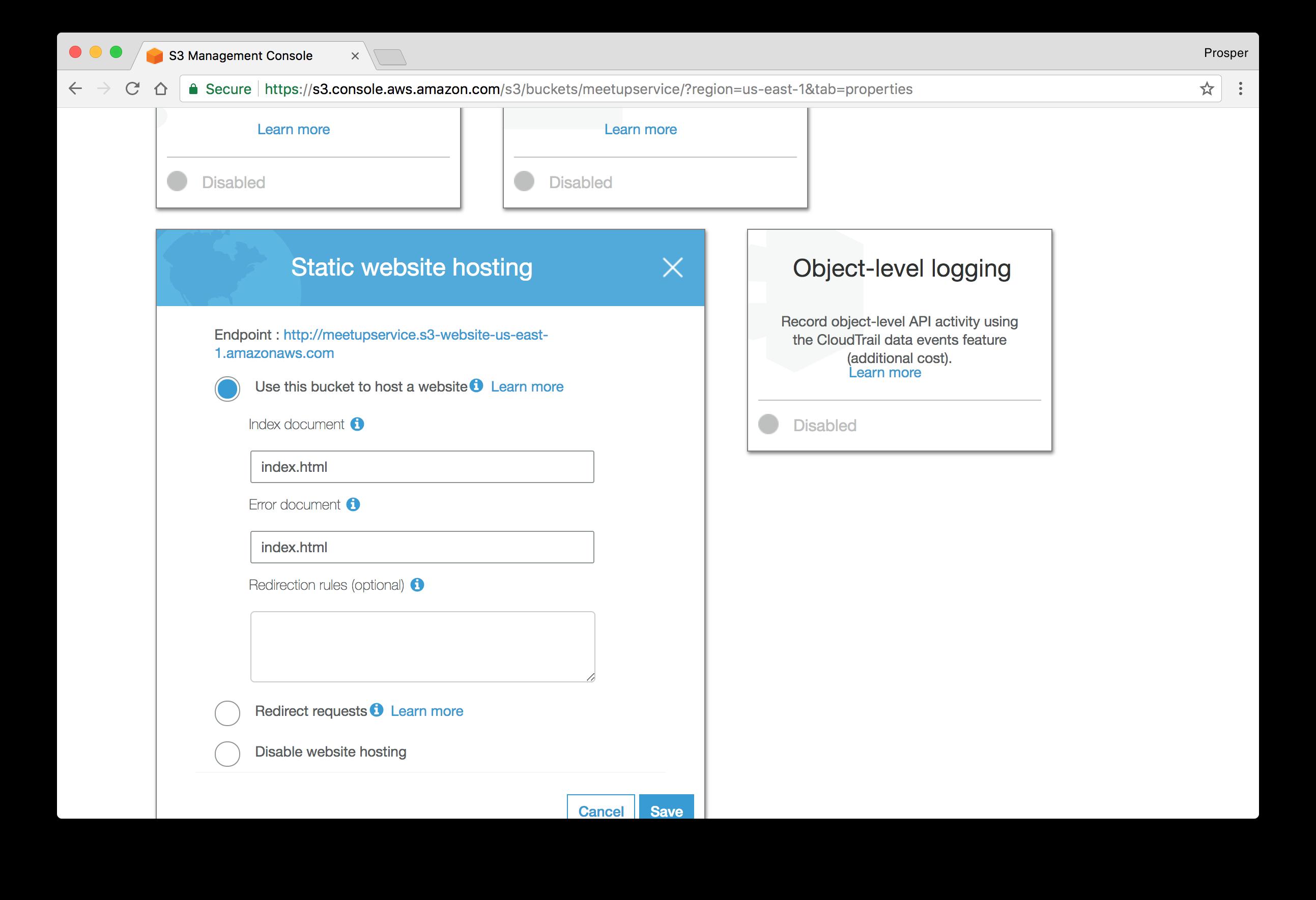 Enable Static Web hosting