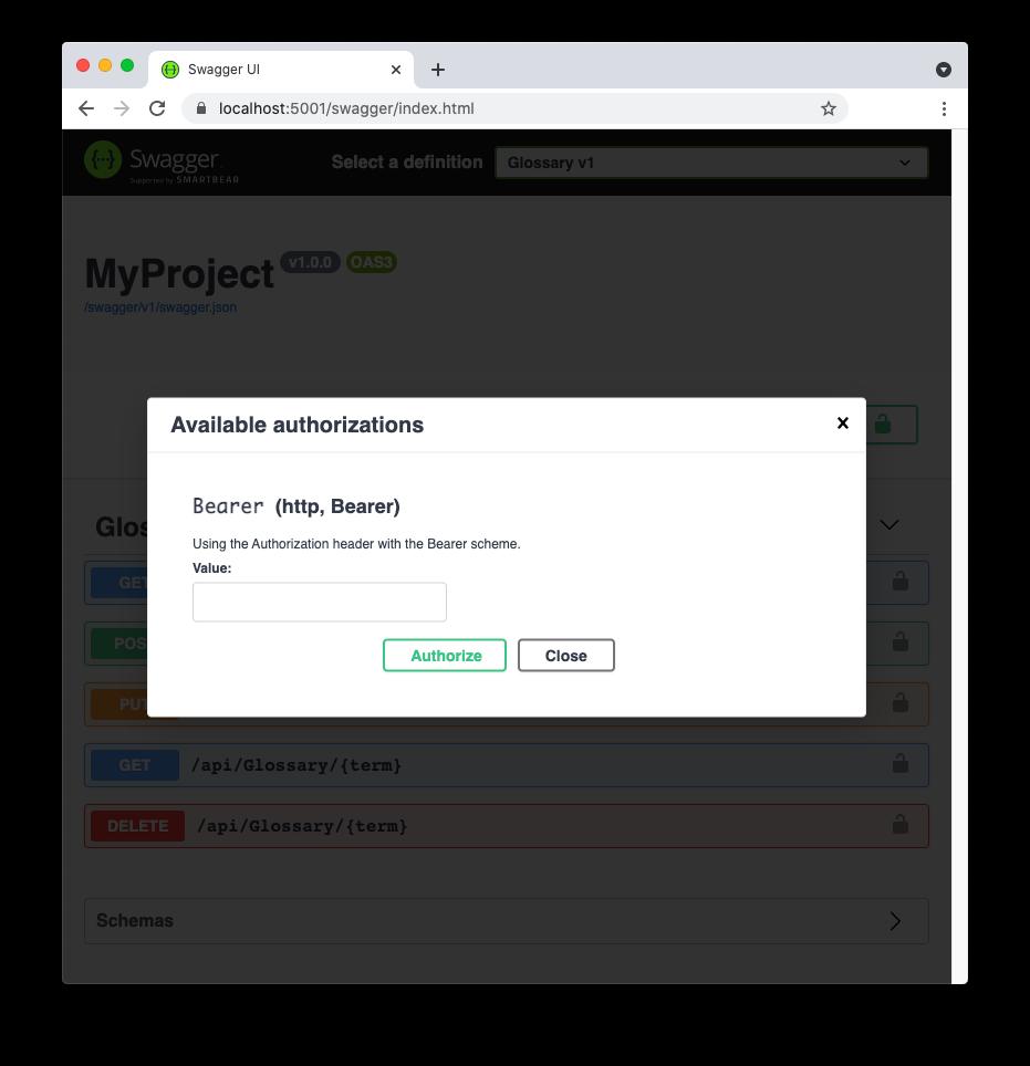 Configure access token for Swagger UI