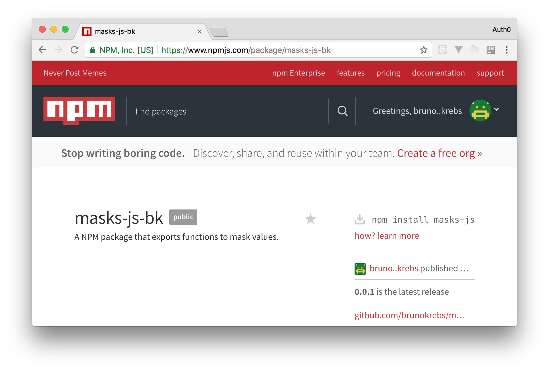 NPM Package Development: The NPM Webpage of our NPM package.