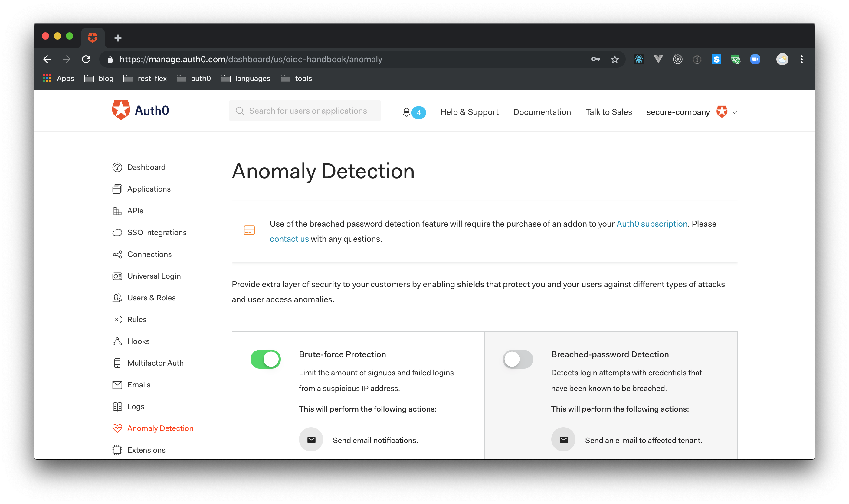 Auth0 Anomaly detection and breached password detection within Dashboard