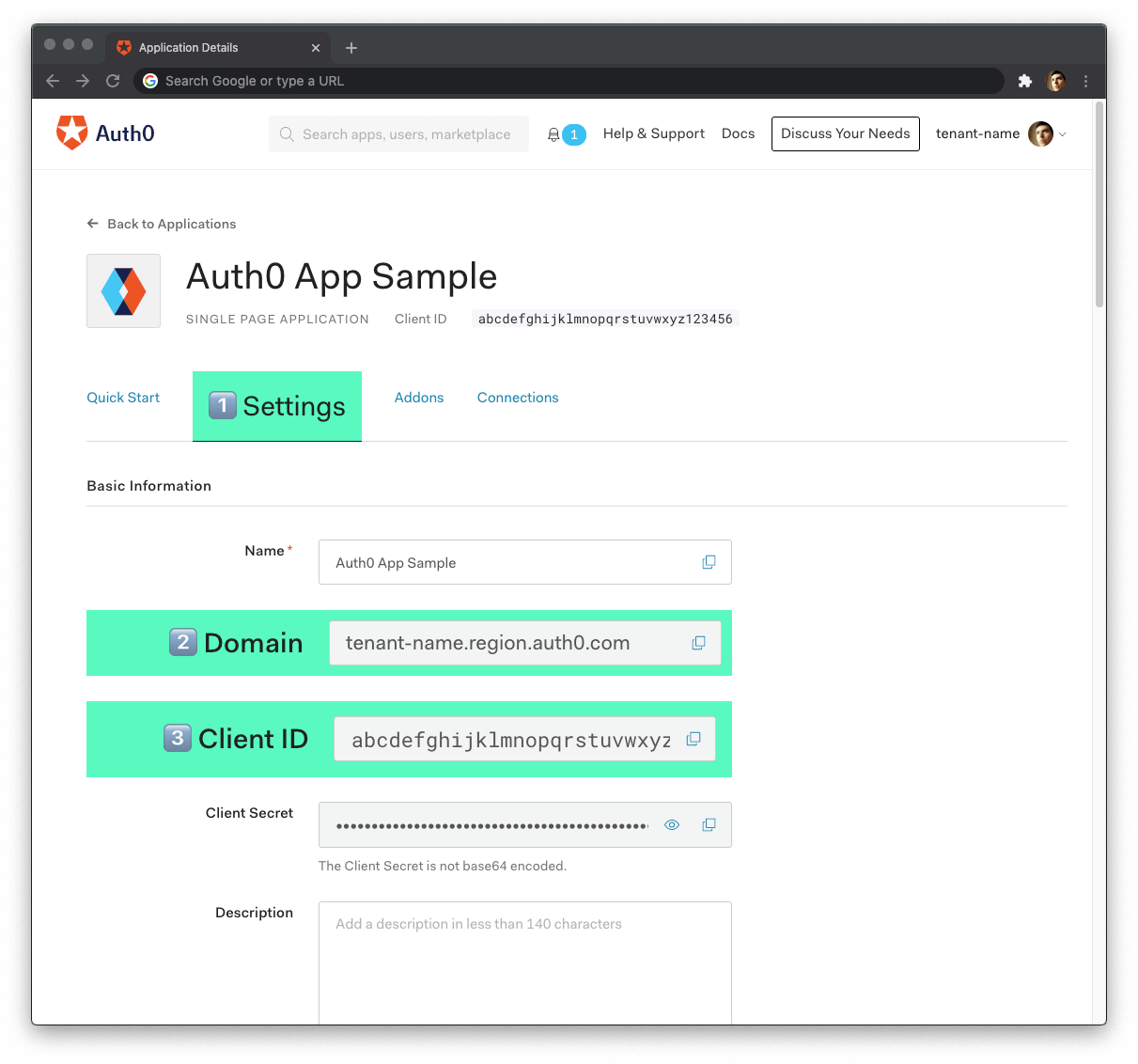 Auth0 application settings to enable user authentication