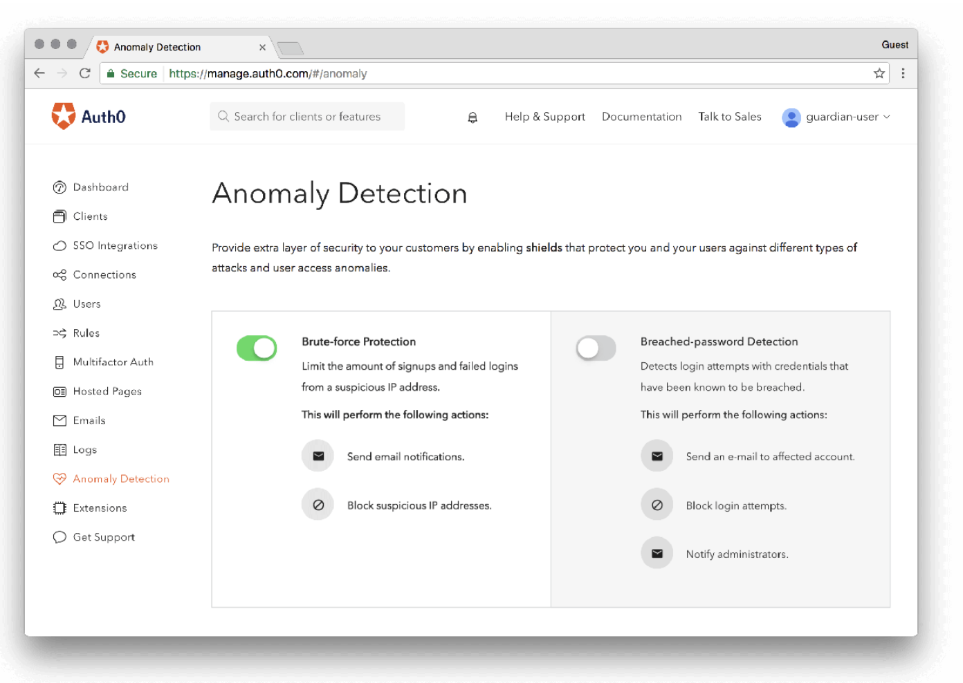 Anomaly Detection view on Auth0