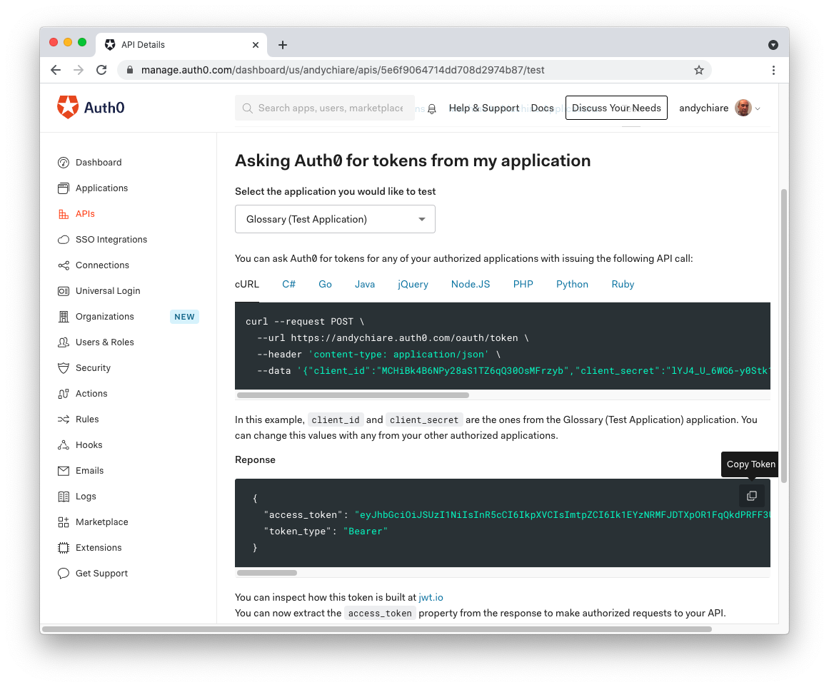 Copying temporary token from the Auth0 Dashboard