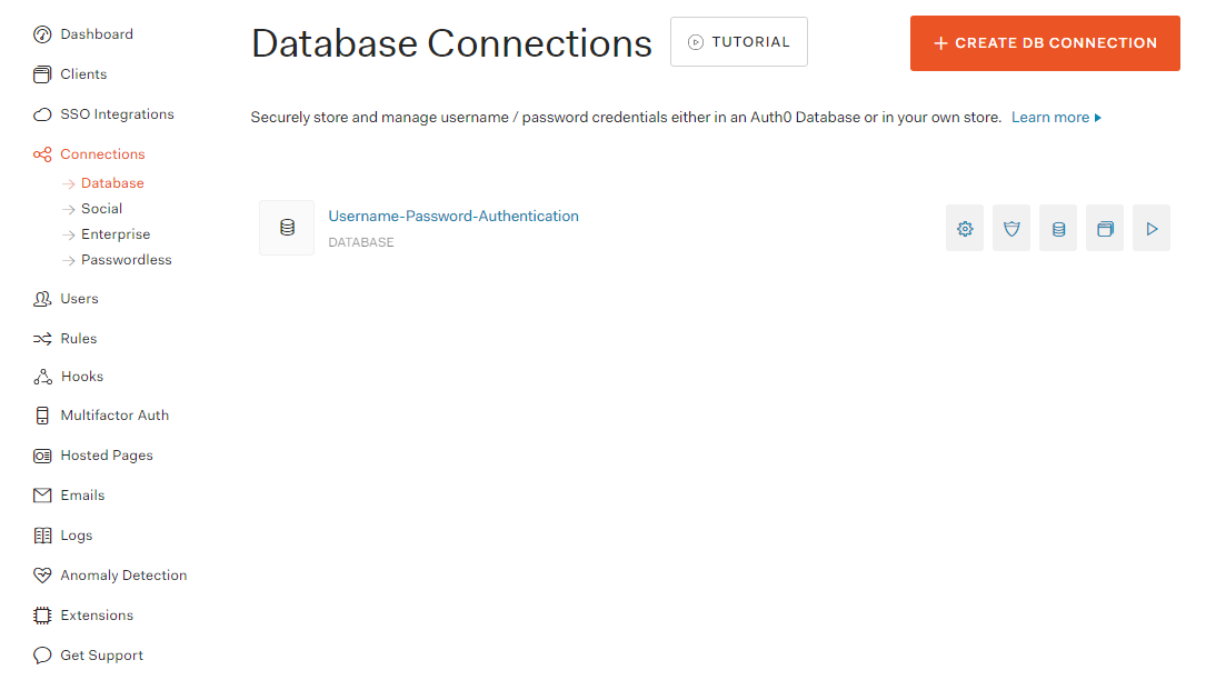 Auth0 Database Connection