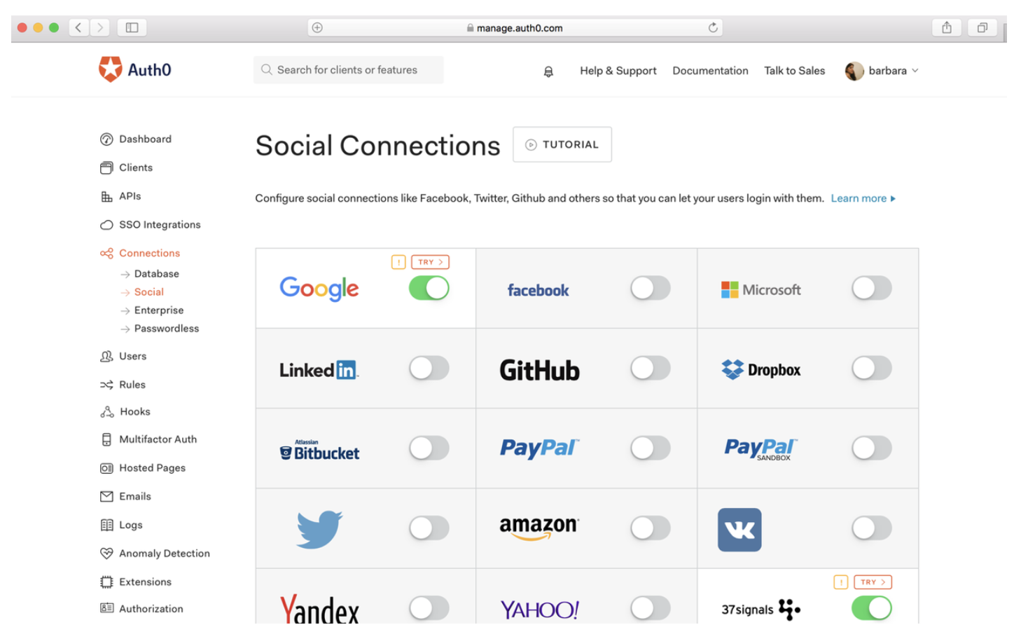 Auth0 Social Connections social login providers