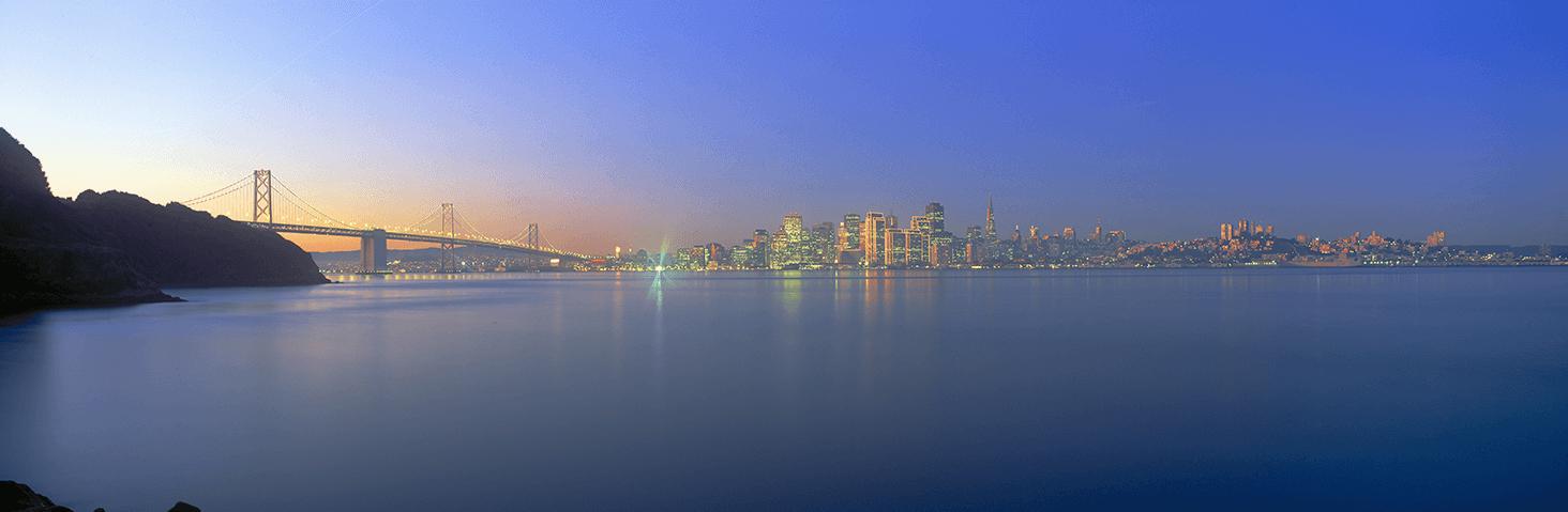 View of Bay Bridge and San Francisco from Treasure Island California