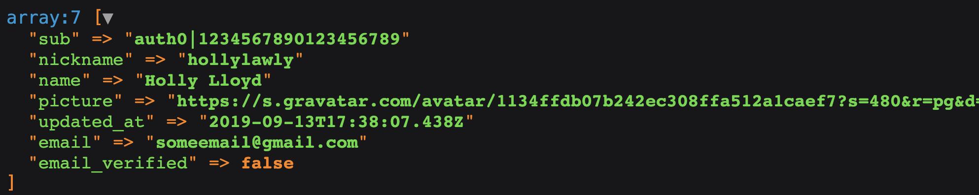 Auth0 user data from Laravel app