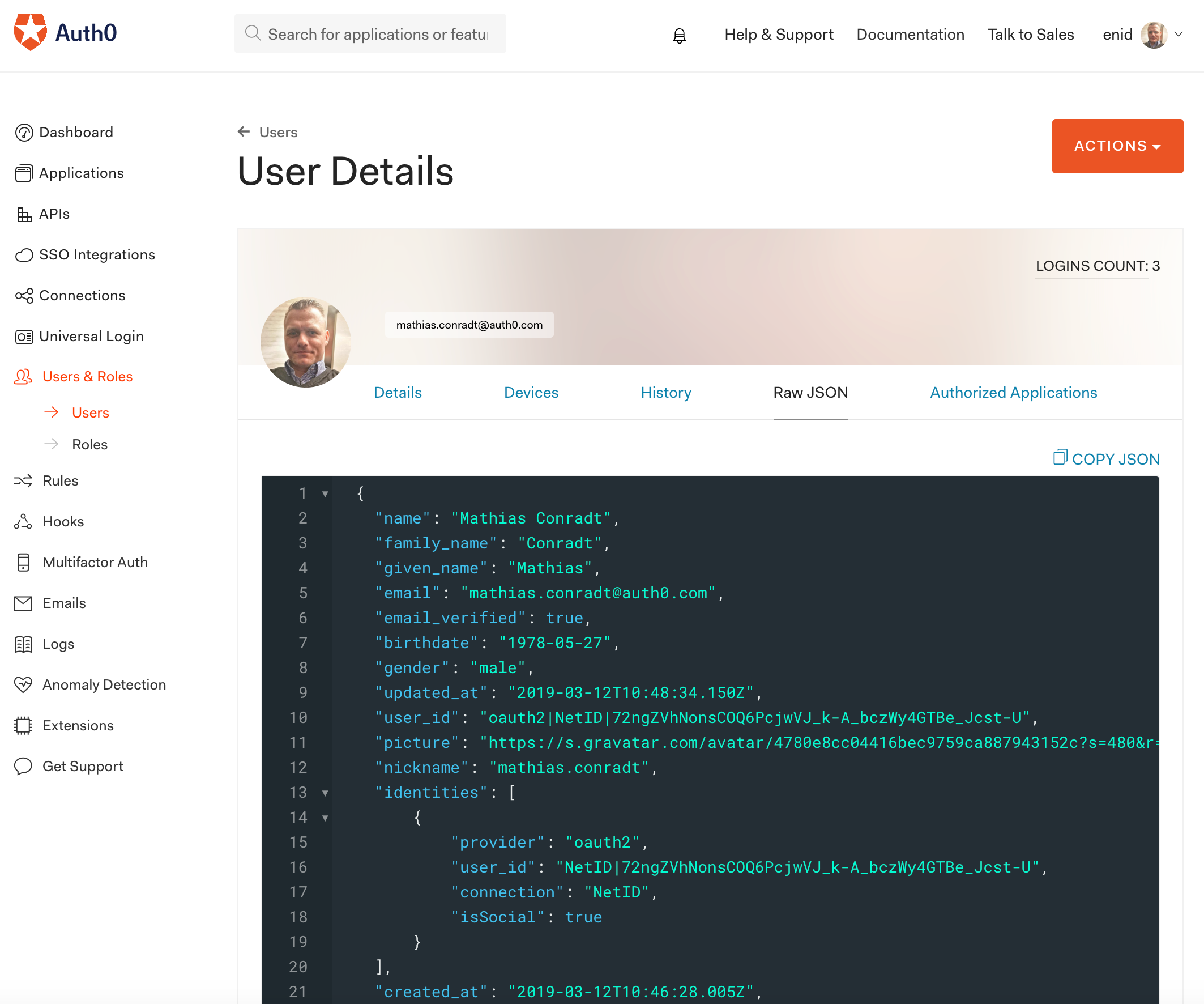 Viewing raw JSON information about the registered user