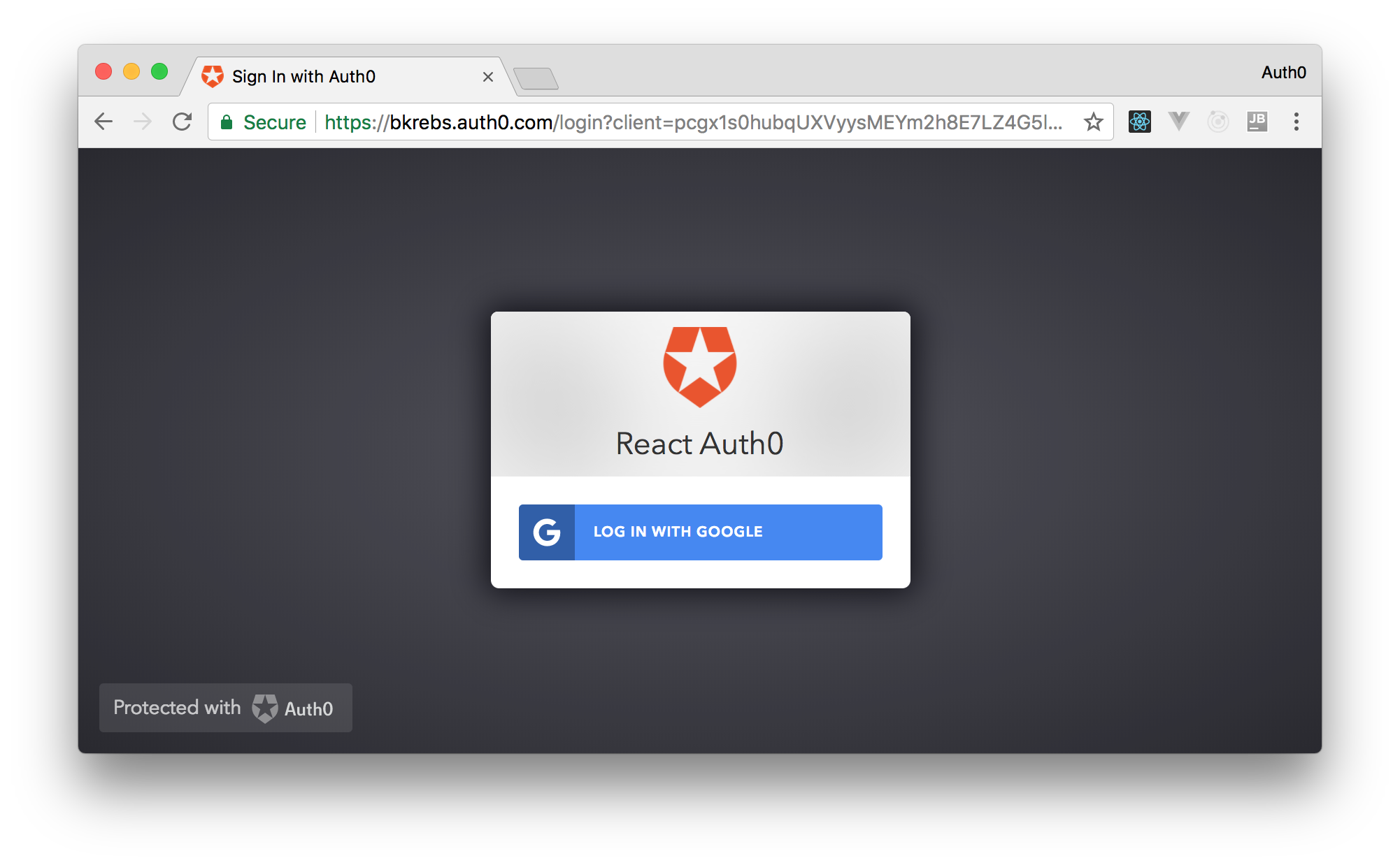 The Auth0 hosted login page for a React app.