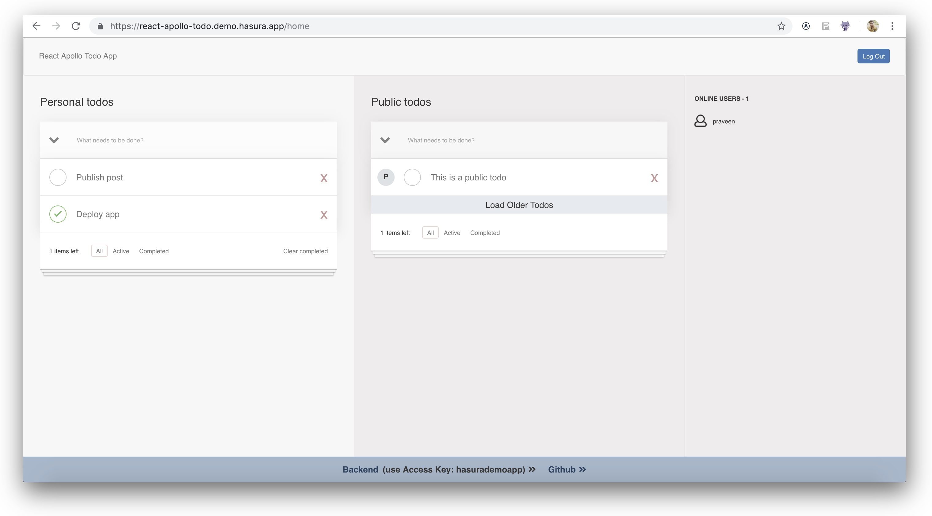 Screenshot of the to-do app with some items populated