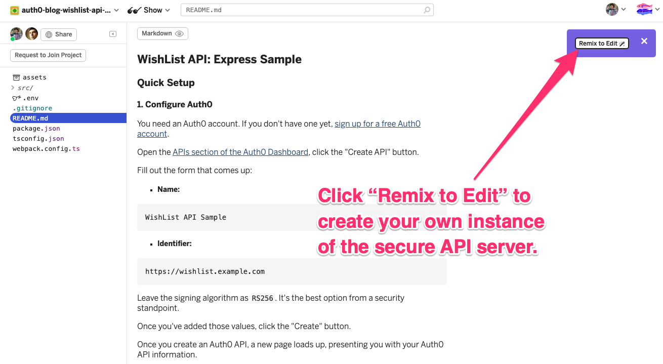 """Web page for the Glitch project to be copied. It features instructions that say """"Click 'Remix to Edit' to create your own instance of the secure API server."""""""