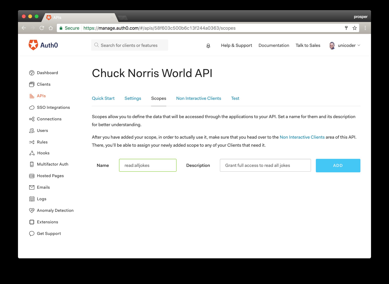 Adding Scope to API