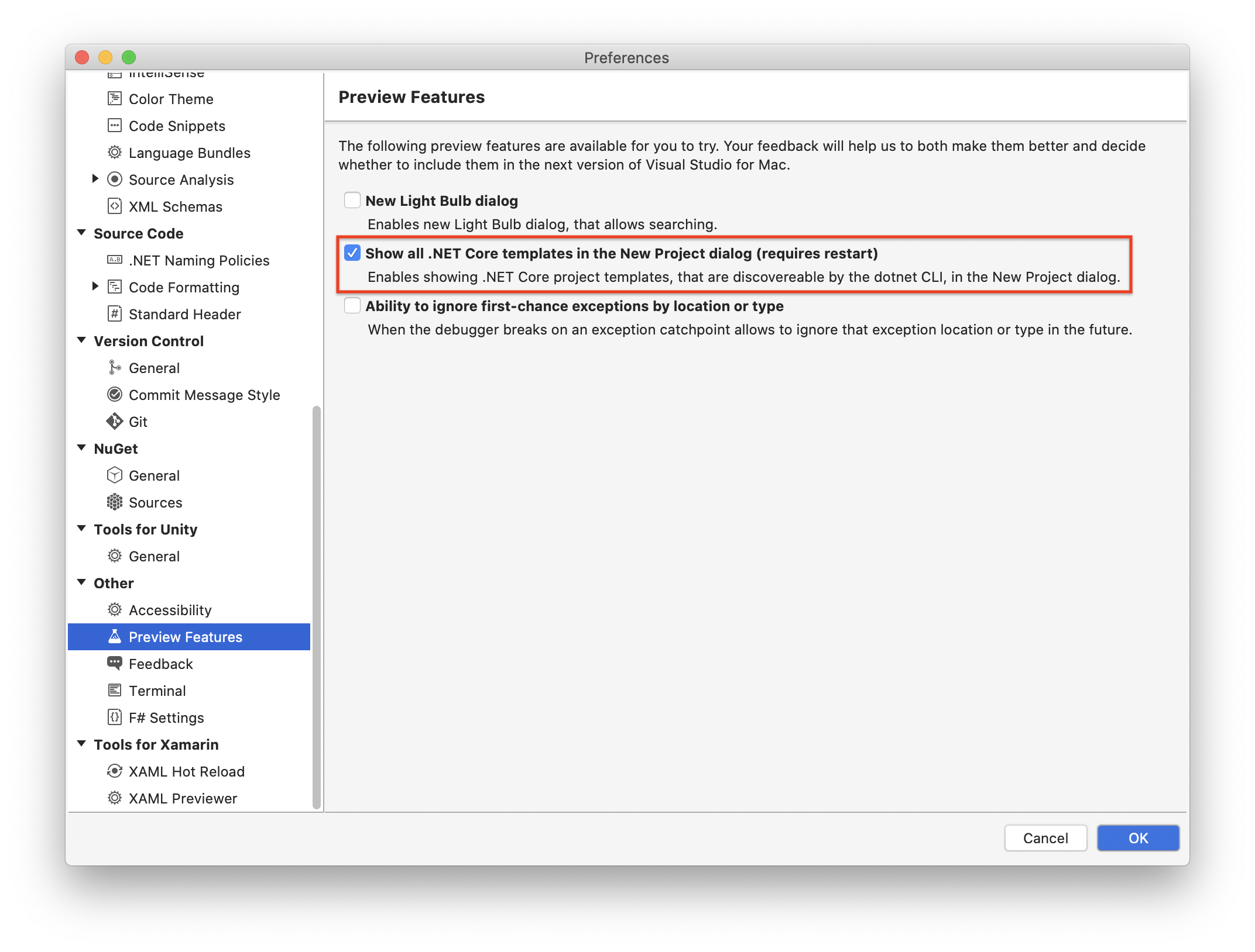Enable CLI templates in Visual Studio on macOs