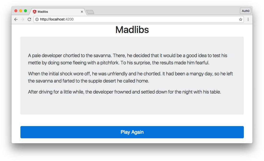 generated madlib story