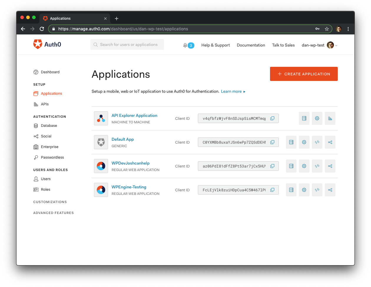 Auth0 applications