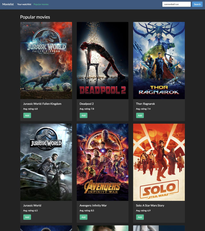 Popular movies demo app screenshot