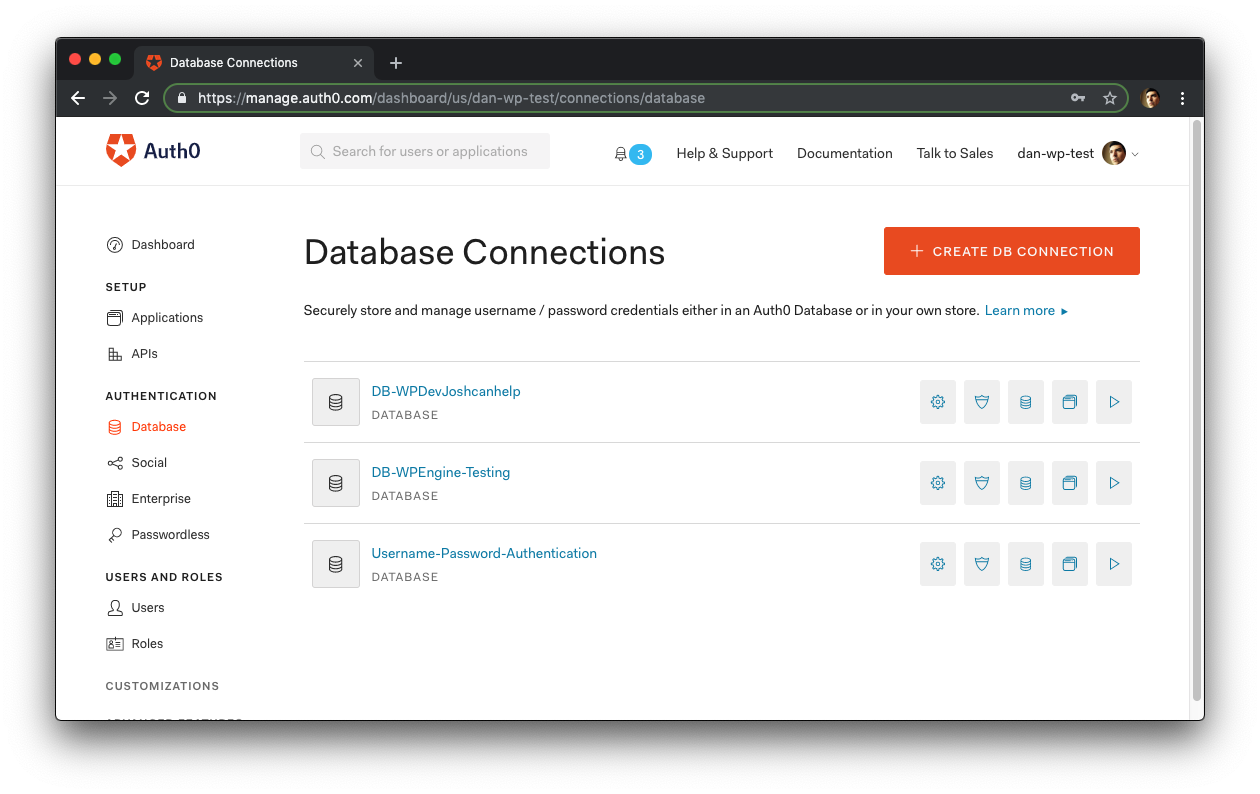 Auth0 Database Connections