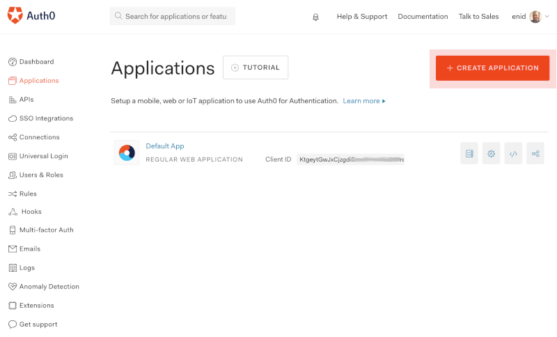 Creating a new Auth0 application