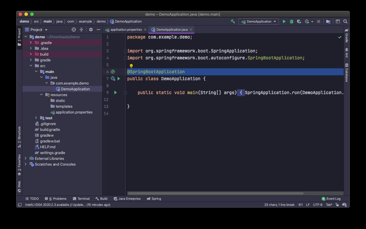 Spring Boot Java main class