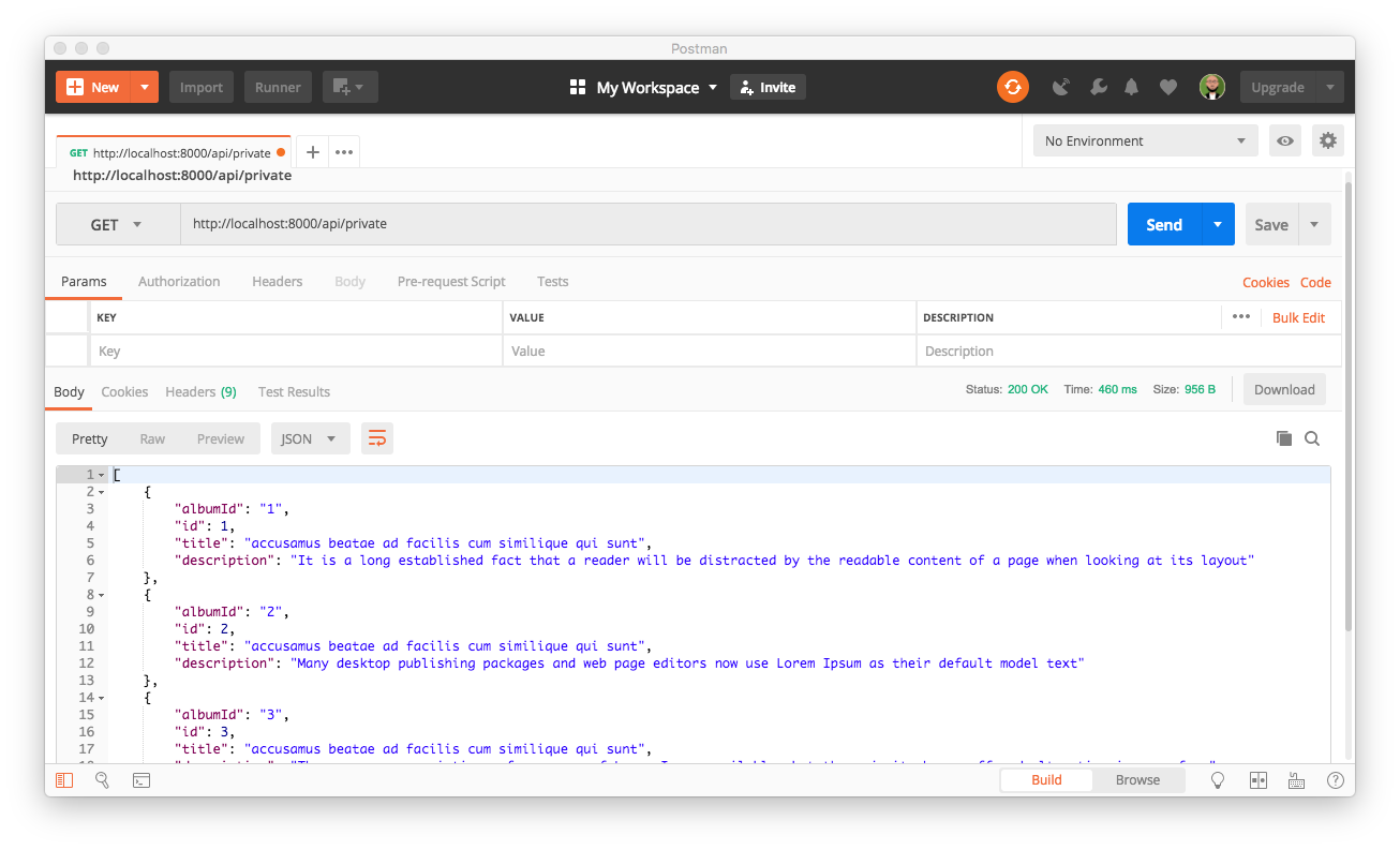 Using Postman to consume private Symfony endpoint
