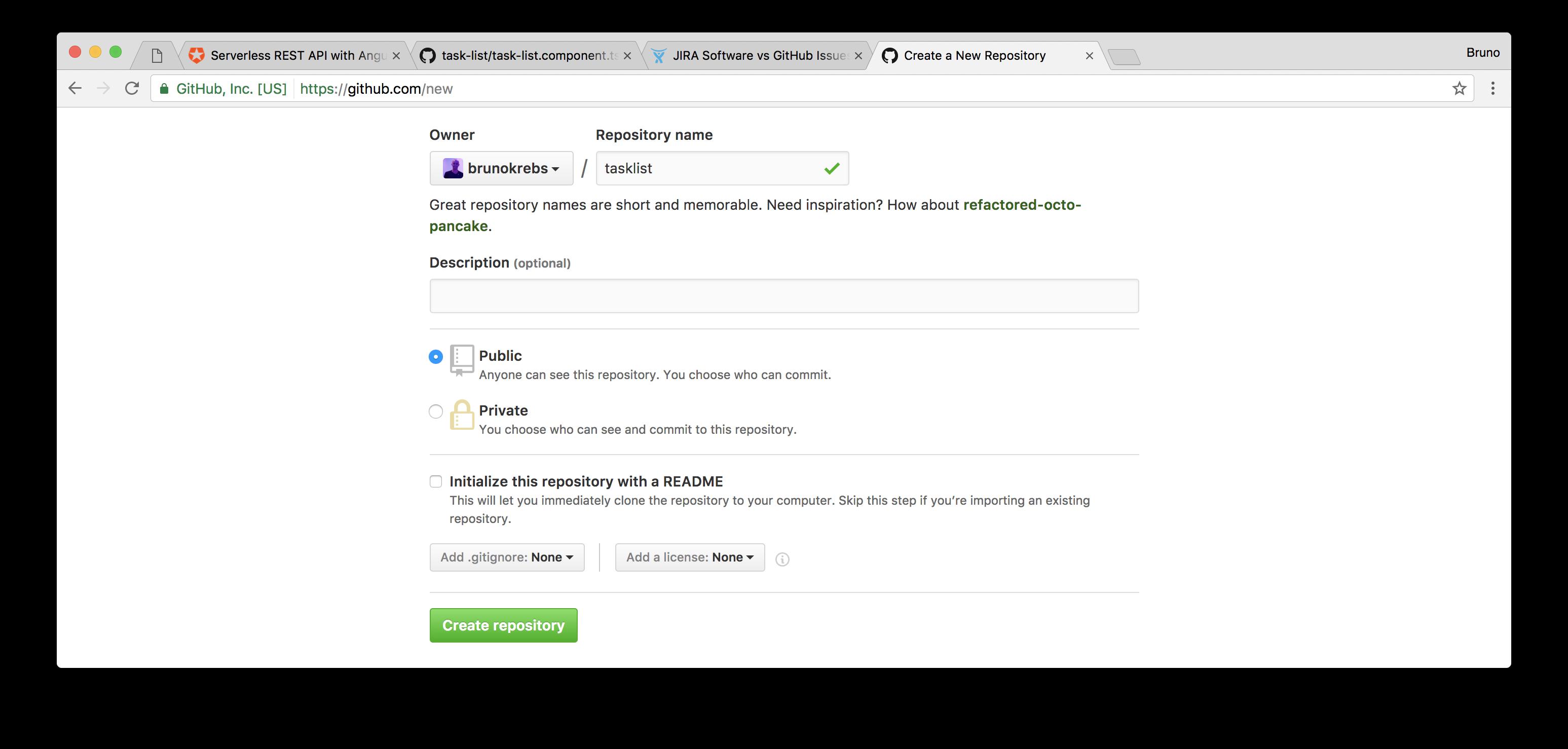 Creating a GitHub repository