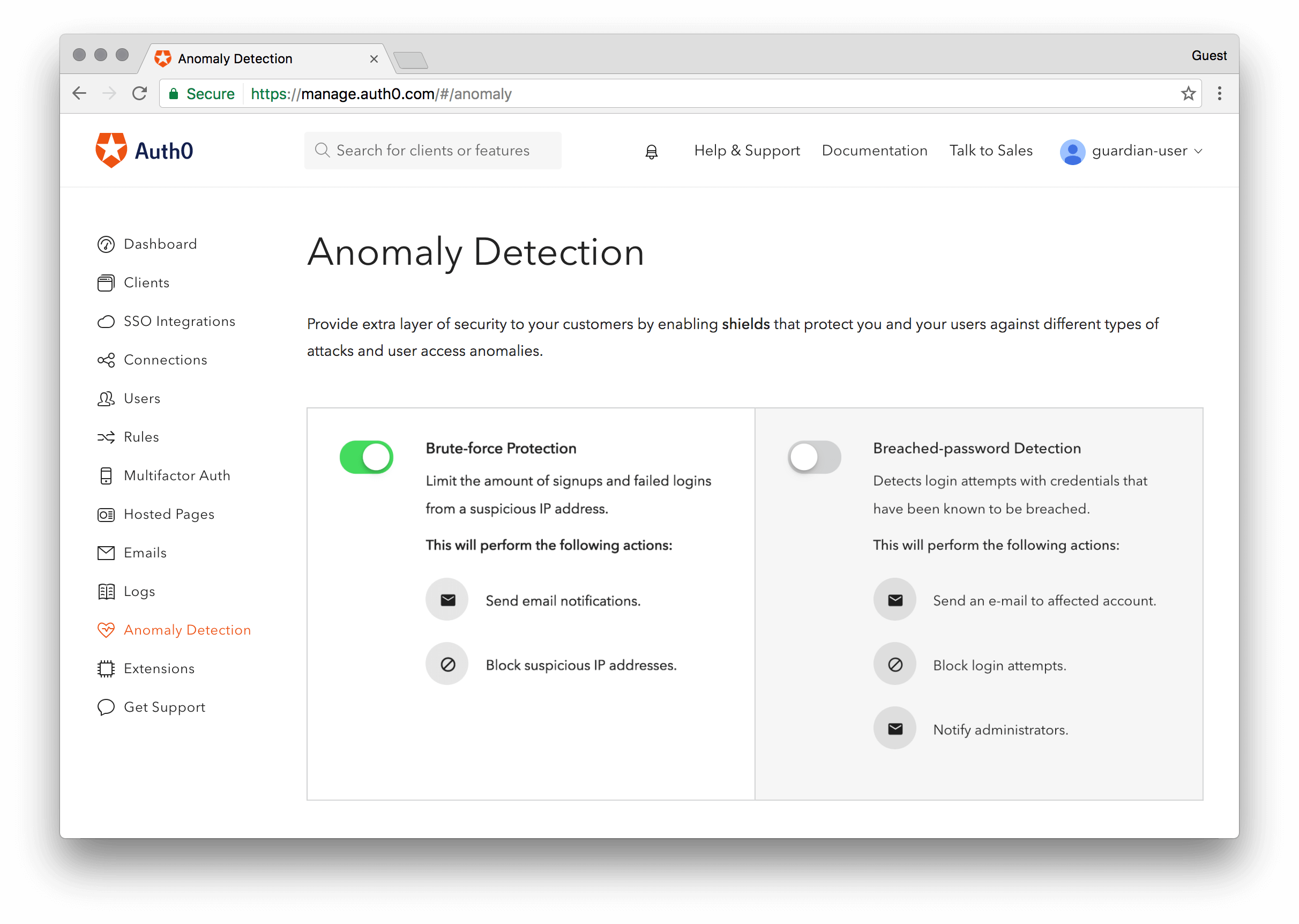 Auth0 anomaly protection Dashboard brute force protection enabled