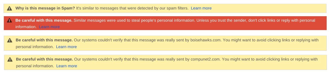 Spam detection warnings