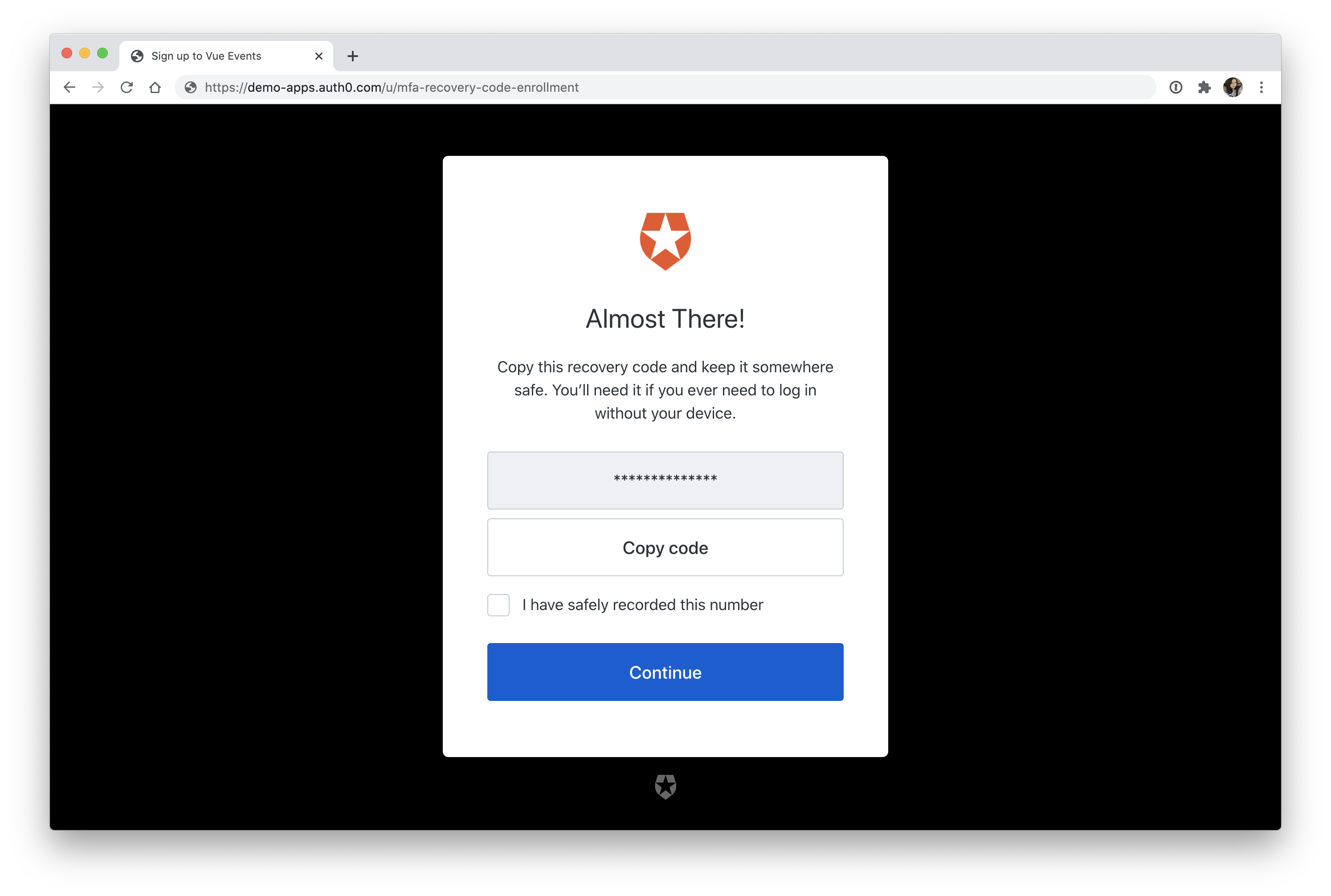 Auth0 MFA recovery code