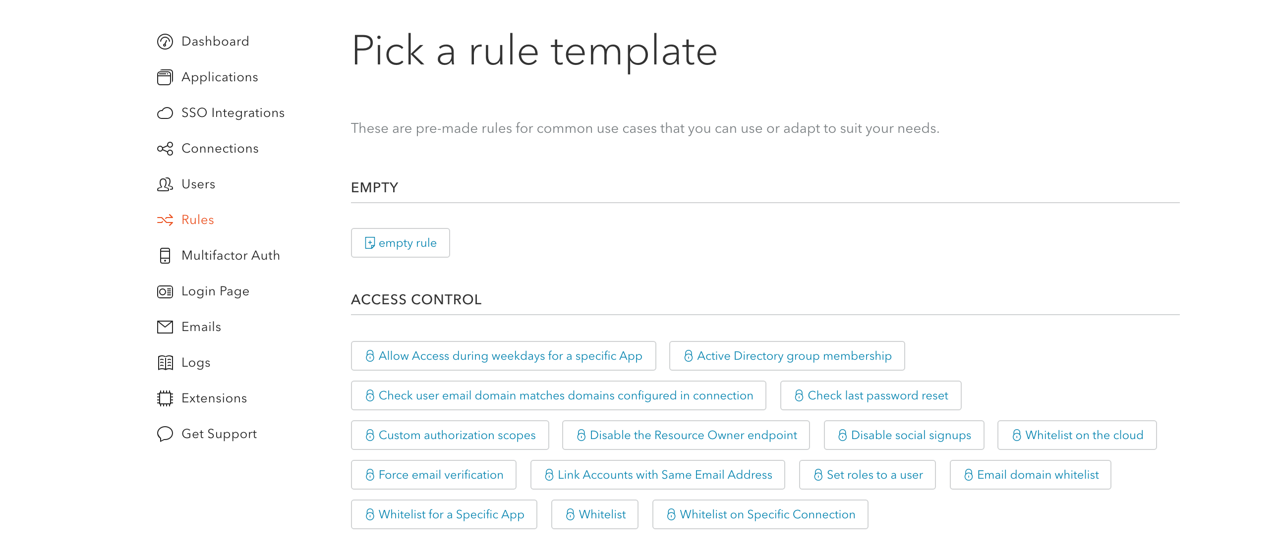 Auth0 provides lots of rule templates for you