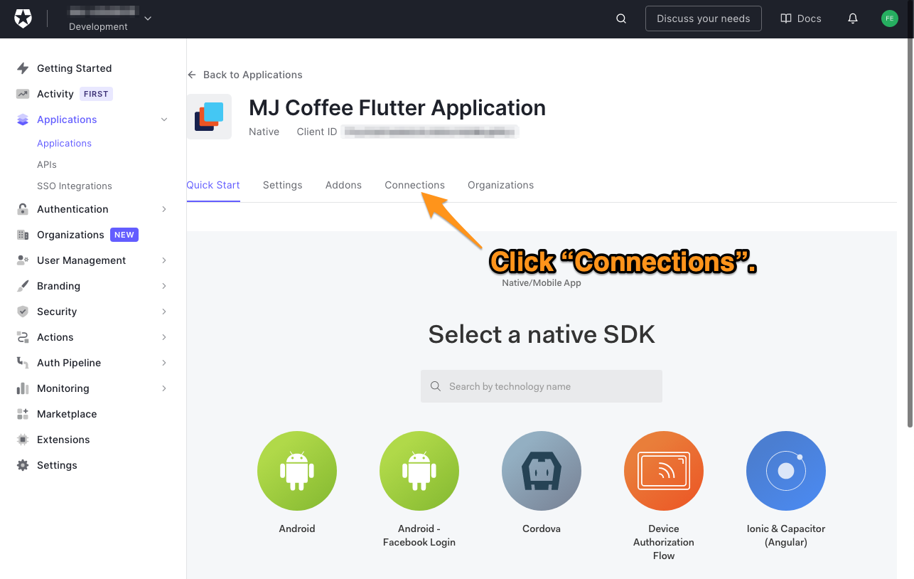 """The """"Quick Start"""" tab for the """"MJ Coffee"""" application in the Auth0 dashboard. The user is directed to click the """"Connections"""" tab."""