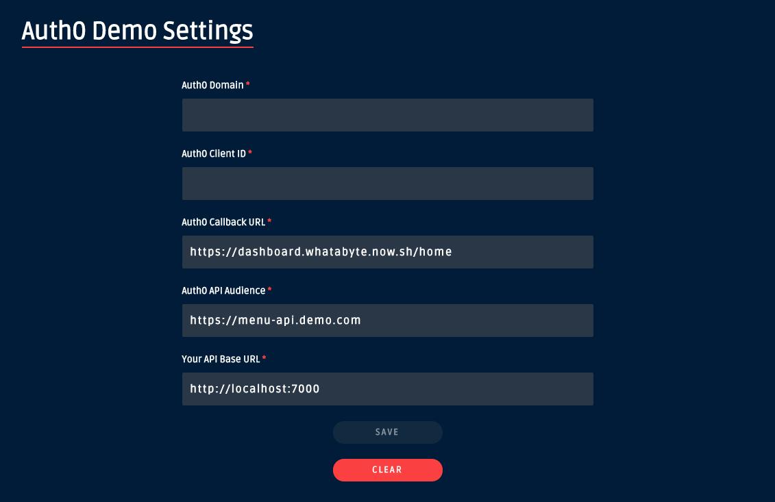 WHATABYTE Dashboard demo settings form