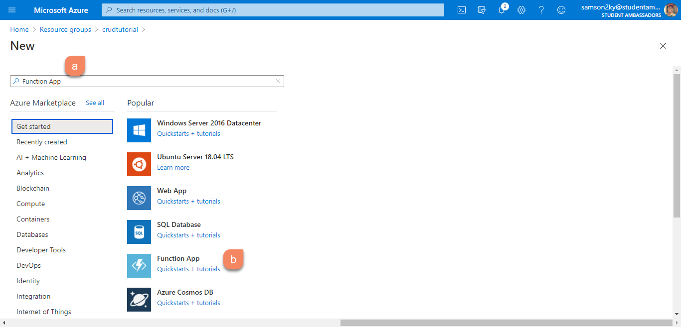 Search Azure Function App