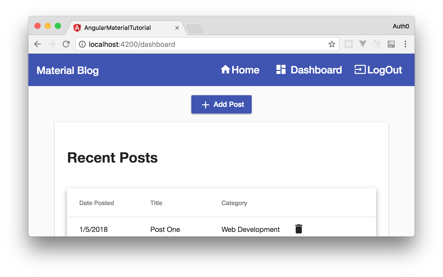 Angular Material project secured with Auth0