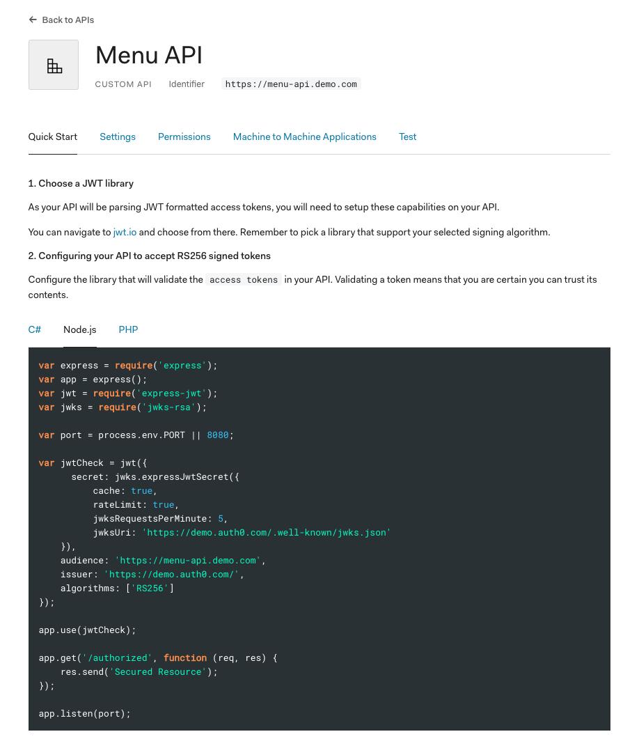 Menu API Node.js Quickstart