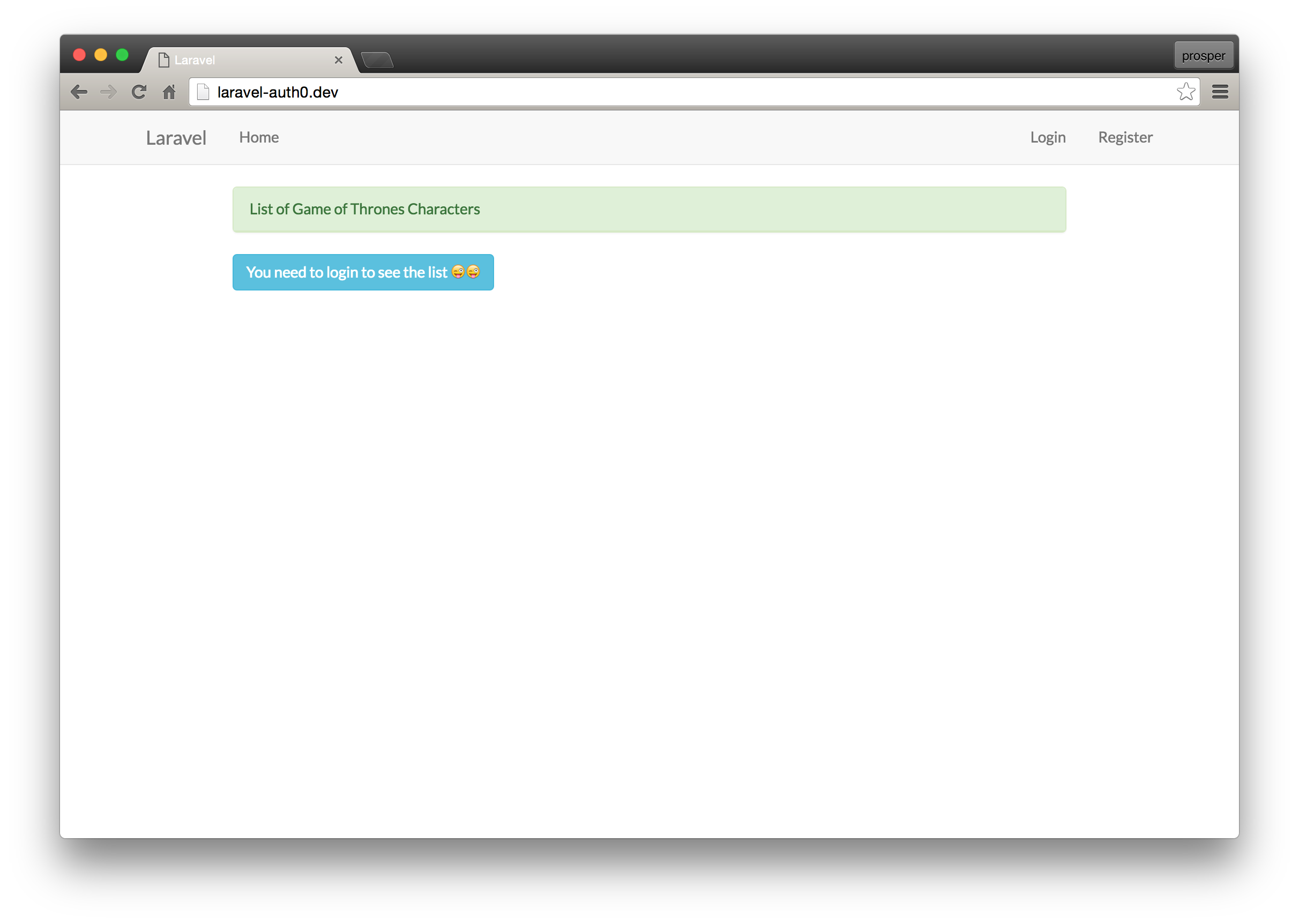Laravel application localhost home page